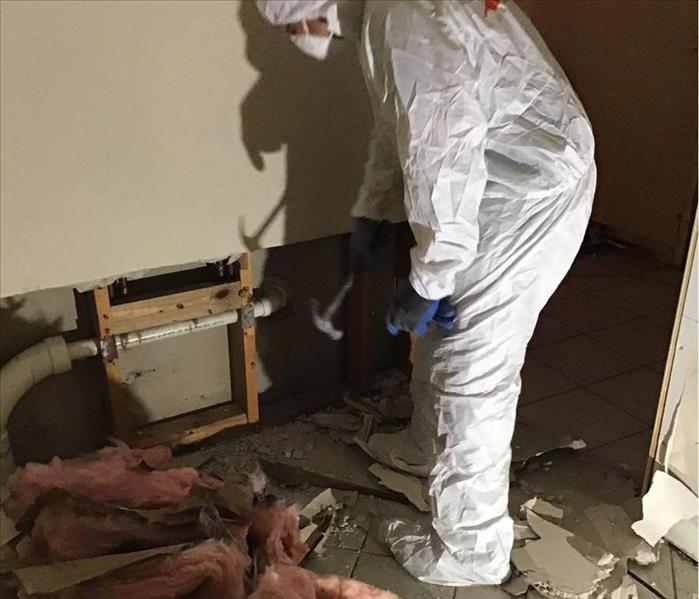 mold remediation expert wearing full PPE while removing water damaged insulation from home