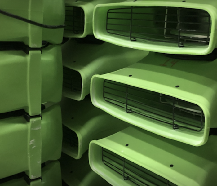 stacked green fans
